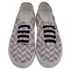 Chevron1 White Marble & Sand Men s Classic Low Top Sneakers