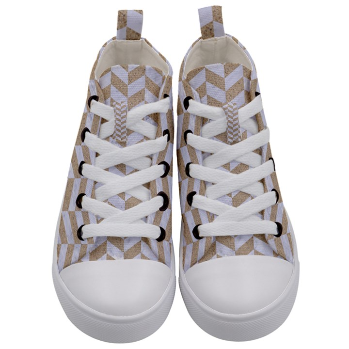 CHEVRON1 WHITE MARBLE & SAND Kid s Mid-Top Canvas Sneakers
