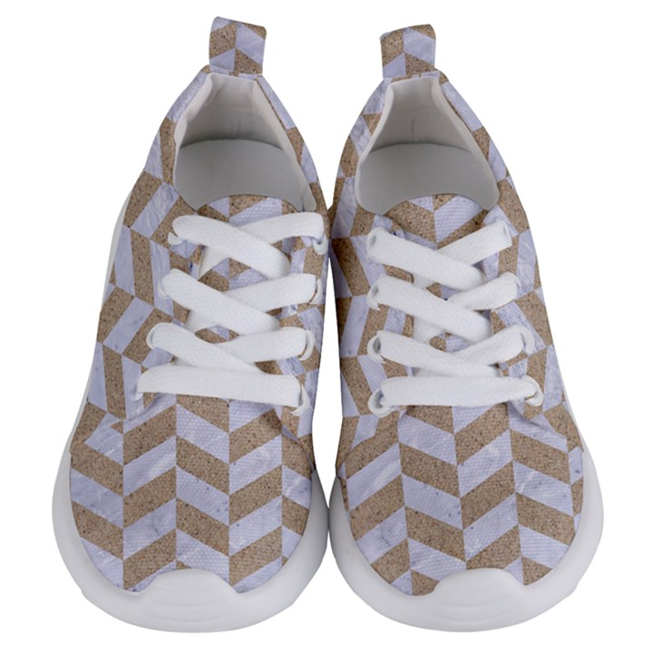 CHEVRON1 WHITE MARBLE & SAND Kids  Lightweight Sports Shoes