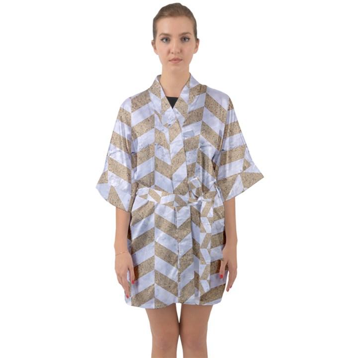 CHEVRON1 WHITE MARBLE & SAND Quarter Sleeve Kimono Robe