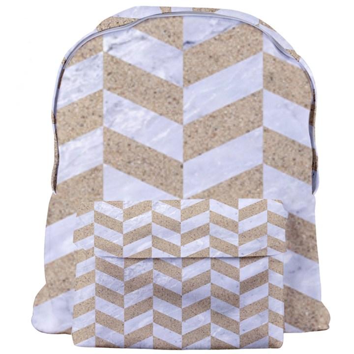 CHEVRON1 WHITE MARBLE & SAND Giant Full Print Backpack