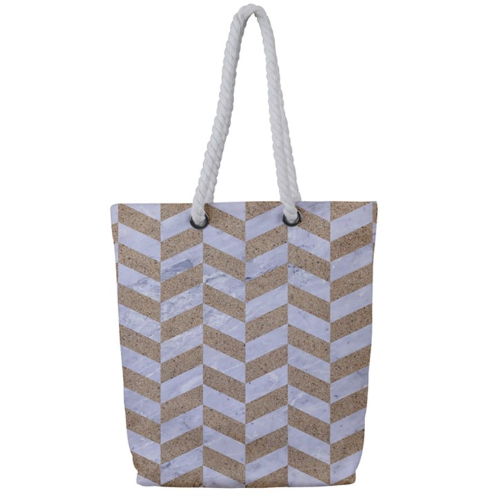 CHEVRON1 WHITE MARBLE & SAND Full Print Rope Handle Tote (Small)