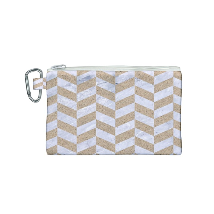 CHEVRON1 WHITE MARBLE & SAND Canvas Cosmetic Bag (Small)