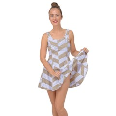 Chevron1 White Marble & Sand Inside Out Dress