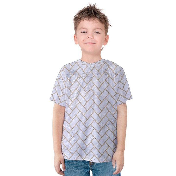 BRICK2 WHITE MARBLE & SAND (R) Kids  Cotton Tee