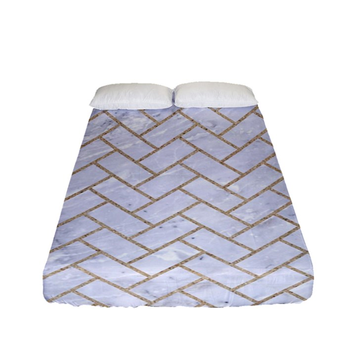 BRICK2 WHITE MARBLE & SAND (R) Fitted Sheet (Full/ Double Size)