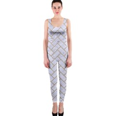 Brick2 White Marble & Sand (r) One Piece Catsuit