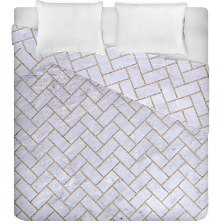 BRICK2 WHITE MARBLE & SAND (R) Duvet Cover Double Side (King Size)