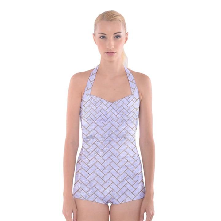 BRICK2 WHITE MARBLE & SAND (R) Boyleg Halter Swimsuit