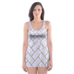 Brick2 White Marble & Sand (r) Skater Dress Swimsuit