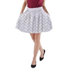 Brick2 White Marble & Sand (r) A Line Pocket Skirt