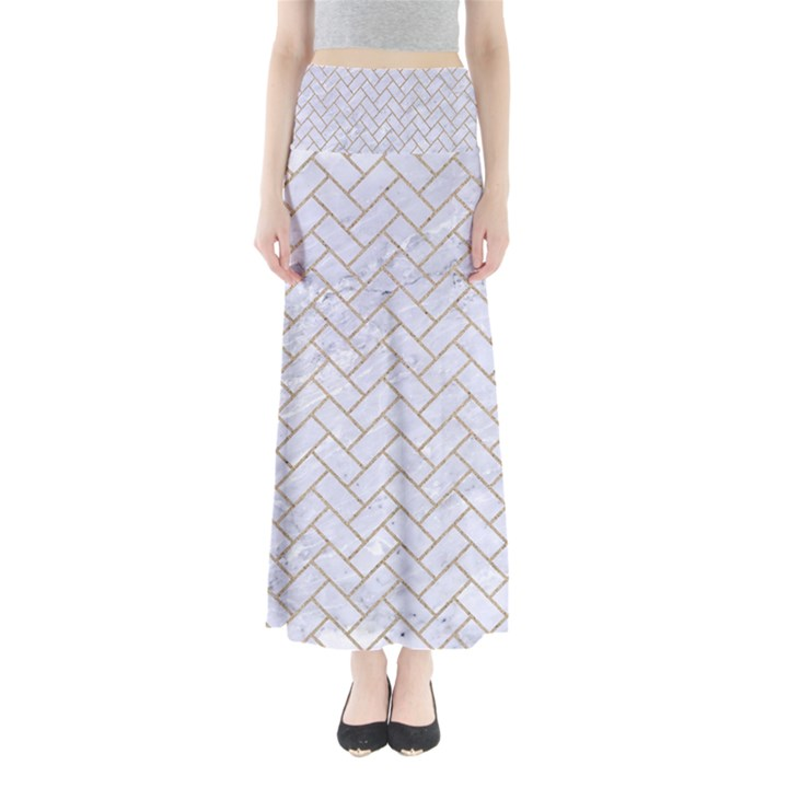 BRICK2 WHITE MARBLE & SAND (R) Full Length Maxi Skirt