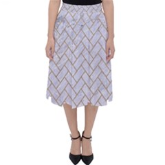 Brick2 White Marble & Sand (r) Folding Skater Skirt