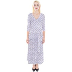 Brick2 White Marble & Sand (r) Quarter Sleeve Wrap Maxi Dress