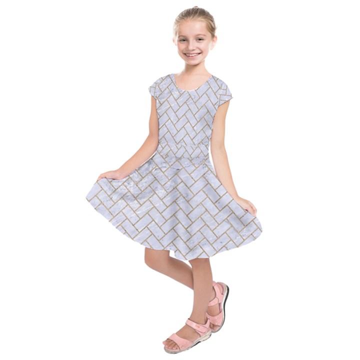 BRICK2 WHITE MARBLE & SAND (R) Kids  Short Sleeve Dress