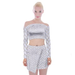 Brick2 White Marble & Sand (r) Off Shoulder Top With Mini Skirt Set