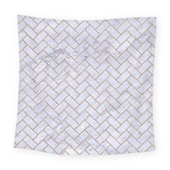 Brick2 White Marble & Sand (r) Square Tapestry (large)