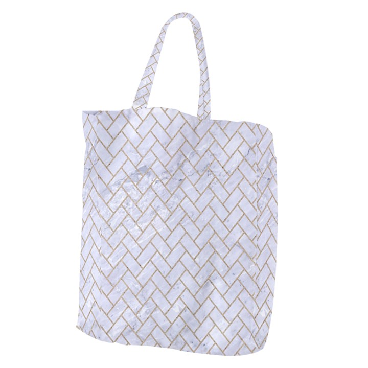 BRICK2 WHITE MARBLE & SAND (R) Giant Grocery Zipper Tote