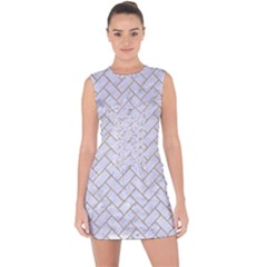 Brick2 White Marble & Sand (r) Lace Up Front Bodycon Dress