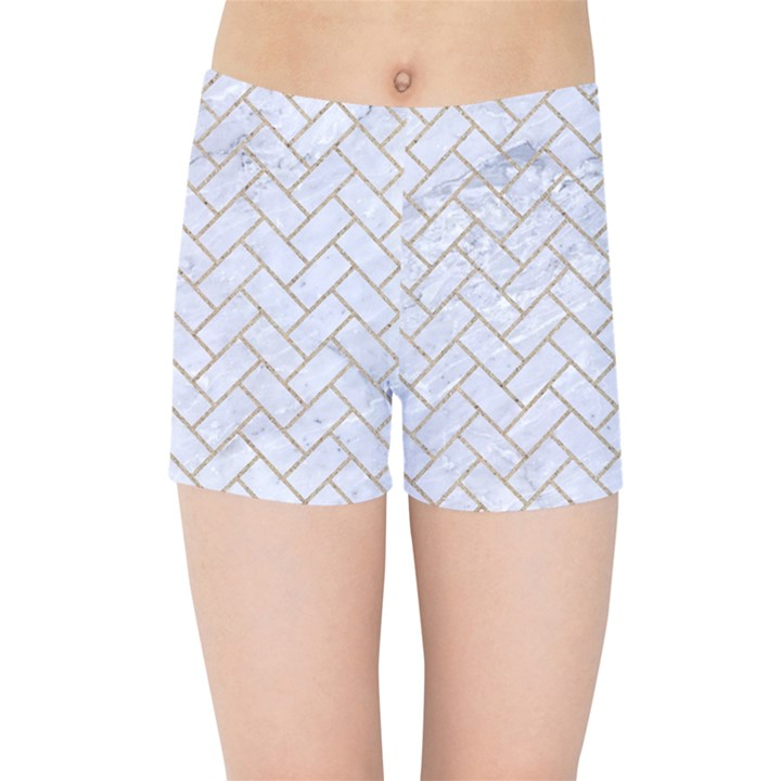 BRICK2 WHITE MARBLE & SAND (R) Kids Sports Shorts