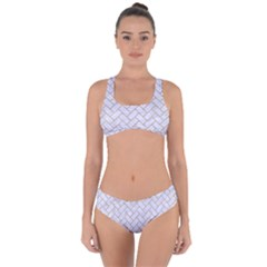 Brick2 White Marble & Sand (r) Criss Cross Bikini Set