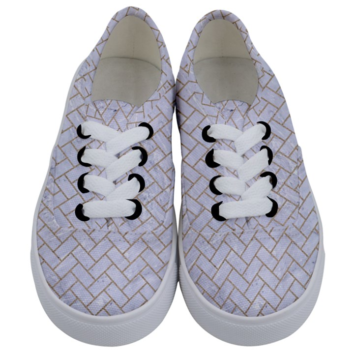 BRICK2 WHITE MARBLE & SAND (R) Kids  Classic Low Top Sneakers