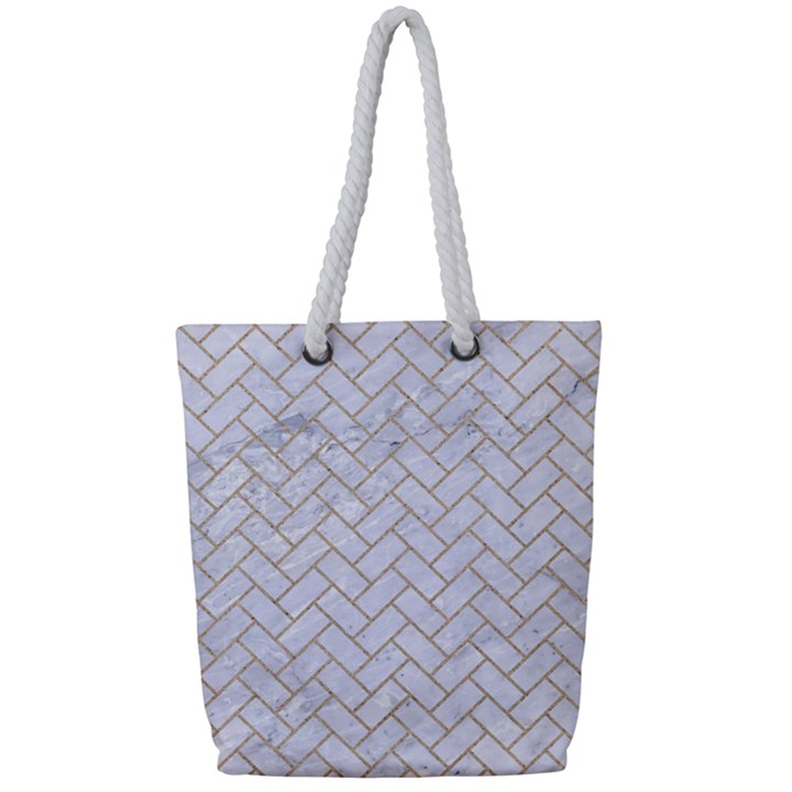 BRICK2 WHITE MARBLE & SAND (R) Full Print Rope Handle Tote (Small)