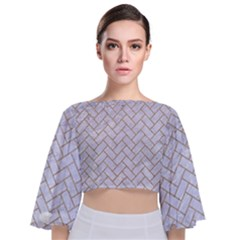 Brick2 White Marble & Sand (r) Tie Back Butterfly Sleeve Chiffon Top