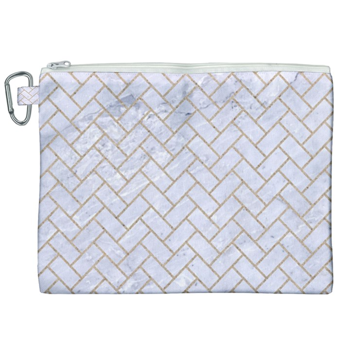BRICK2 WHITE MARBLE & SAND (R) Canvas Cosmetic Bag (XXL)
