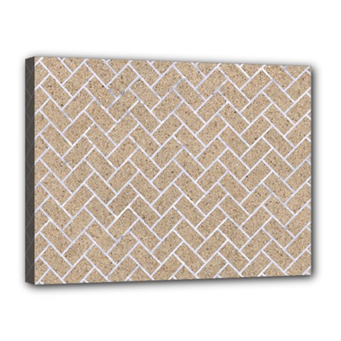 Brick2 White Marble & Sand Canvas 16  X 12