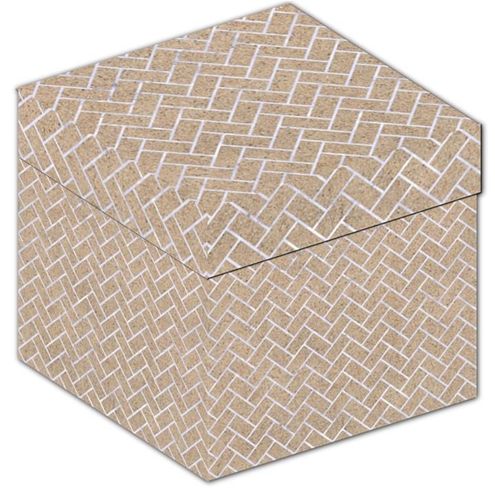 BRICK2 WHITE MARBLE & SAND Storage Stool 12