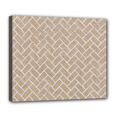 Brick2 White Marble & Sand Deluxe Canvas 24  X 20