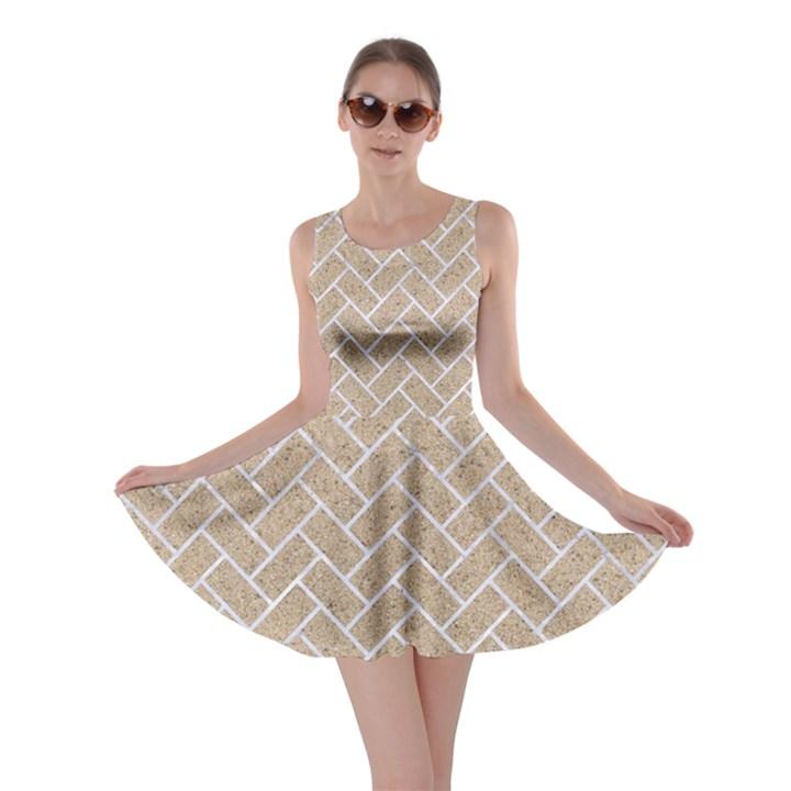 BRICK2 WHITE MARBLE & SAND Skater Dress