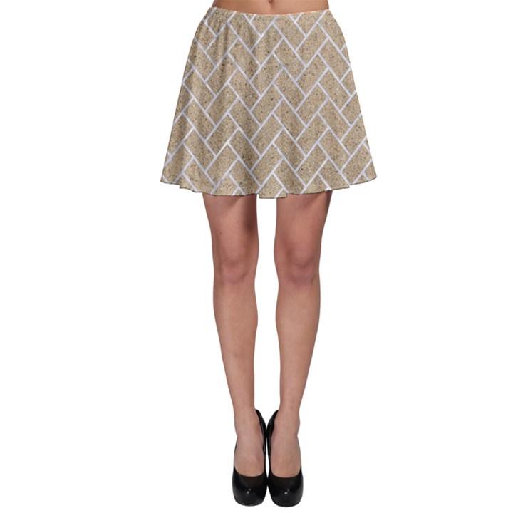BRICK2 WHITE MARBLE & SAND Skater Skirt