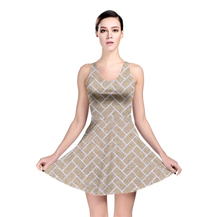 BRICK2 WHITE MARBLE & SAND Reversible Skater Dress