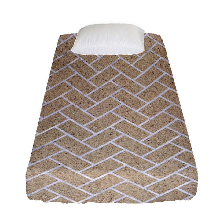 BRICK2 WHITE MARBLE & SAND Fitted Sheet (Single Size)