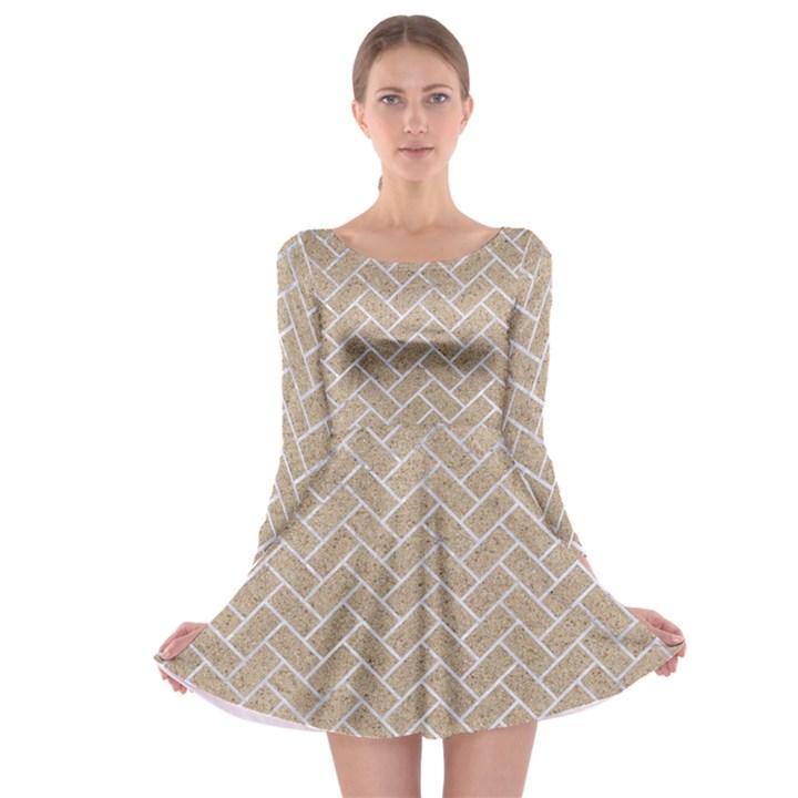BRICK2 WHITE MARBLE & SAND Long Sleeve Skater Dress
