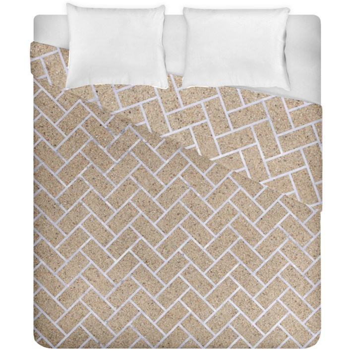 BRICK2 WHITE MARBLE & SAND Duvet Cover Double Side (California King Size)