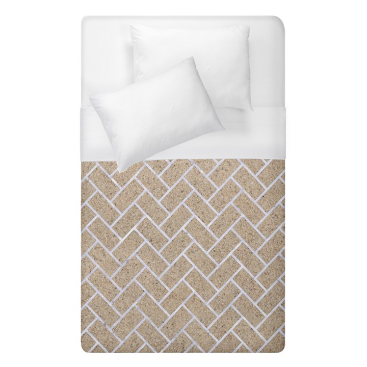 BRICK2 WHITE MARBLE & SAND Duvet Cover (Single Size)