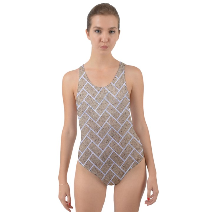 BRICK2 WHITE MARBLE & SAND Cut-Out Back One Piece Swimsuit