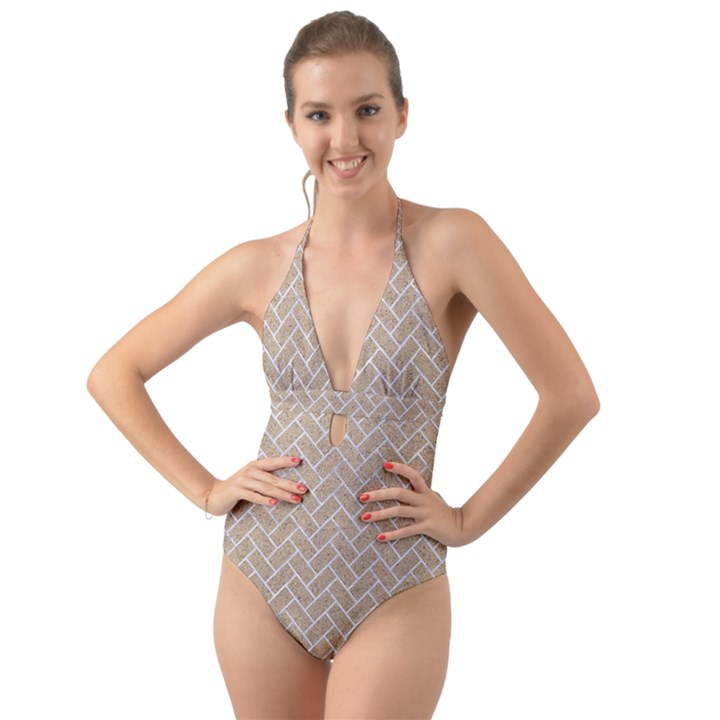BRICK2 WHITE MARBLE & SAND Halter Cut-Out One Piece Swimsuit