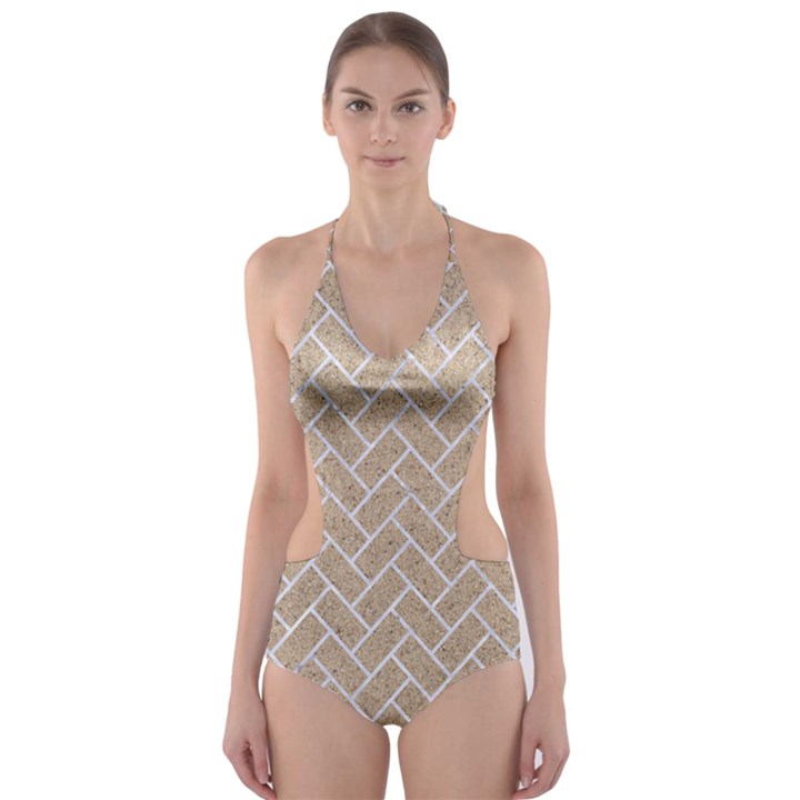 BRICK2 WHITE MARBLE & SAND Cut-Out One Piece Swimsuit