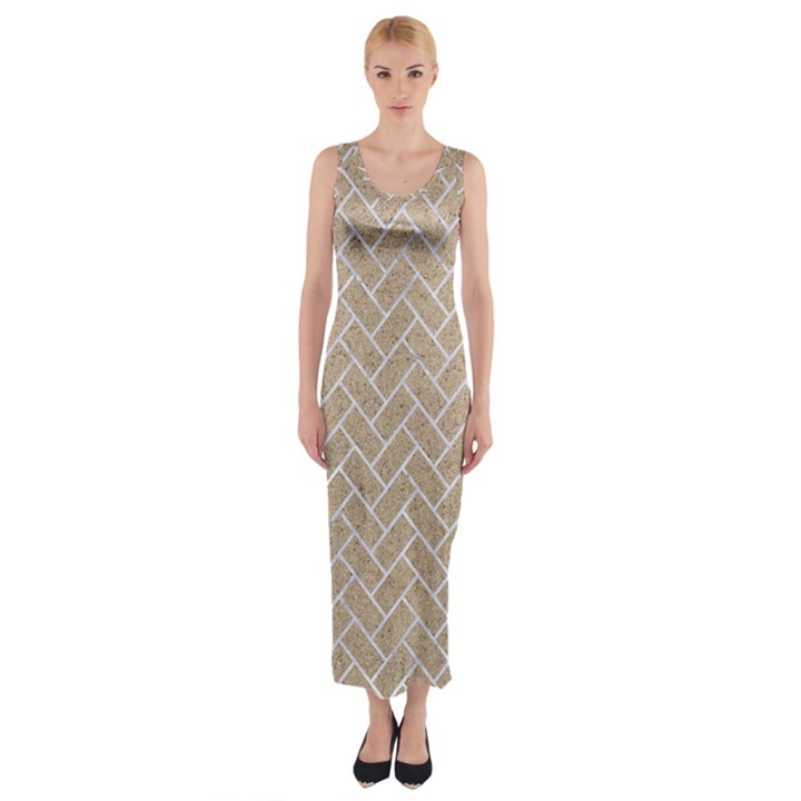 BRICK2 WHITE MARBLE & SAND Fitted Maxi Dress