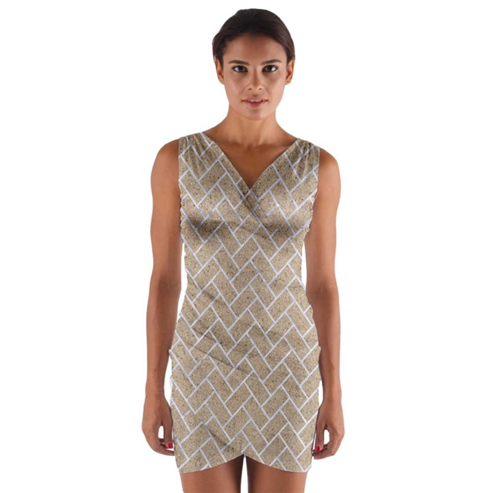 BRICK2 WHITE MARBLE & SAND Wrap Front Bodycon Dress