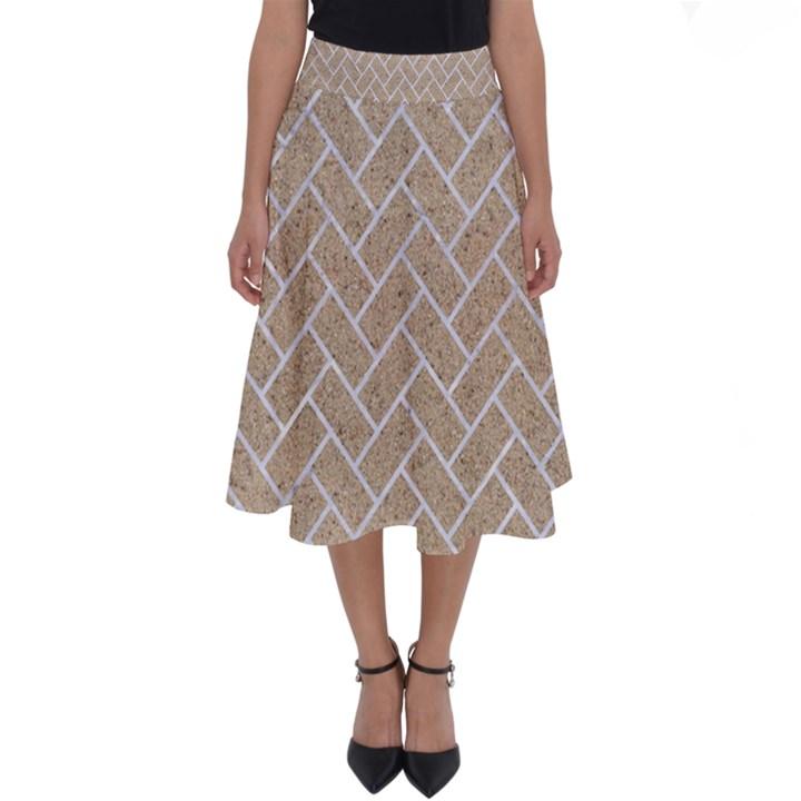 BRICK2 WHITE MARBLE & SAND Perfect Length Midi Skirt