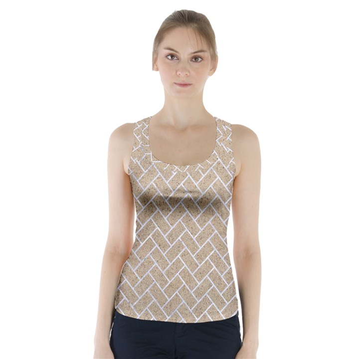 BRICK2 WHITE MARBLE & SAND Racer Back Sports Top