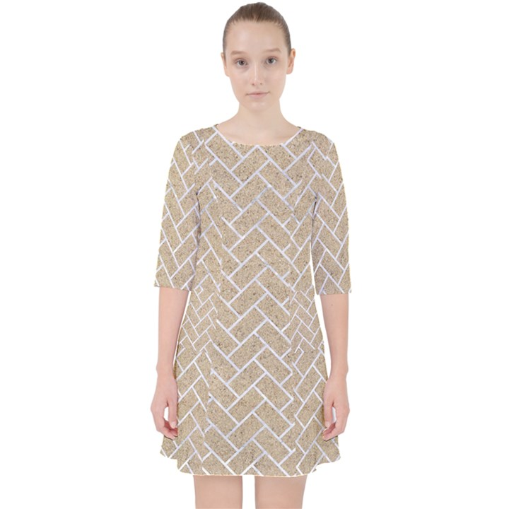 BRICK2 WHITE MARBLE & SAND Pocket Dress