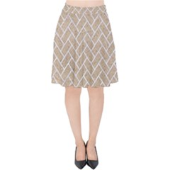 Brick2 White Marble & Sand Velvet High Waist Skirt