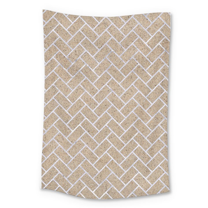 BRICK2 WHITE MARBLE & SAND Large Tapestry