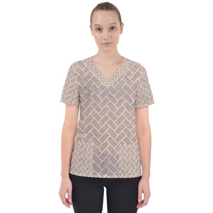 BRICK2 WHITE MARBLE & SAND Scrub Top